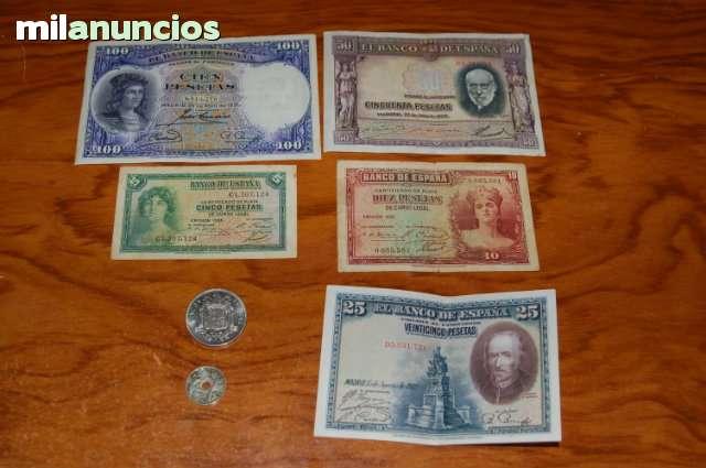 5 Billetes Y Dos Monedas Lote