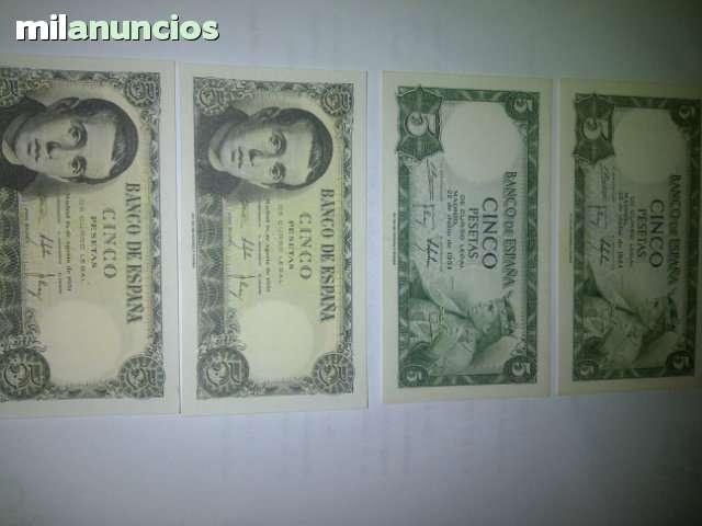 4 Billetes De 5 Pesetas Nuevos