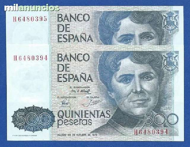 Billetes De 500 Pesetas 1979 Correlativo