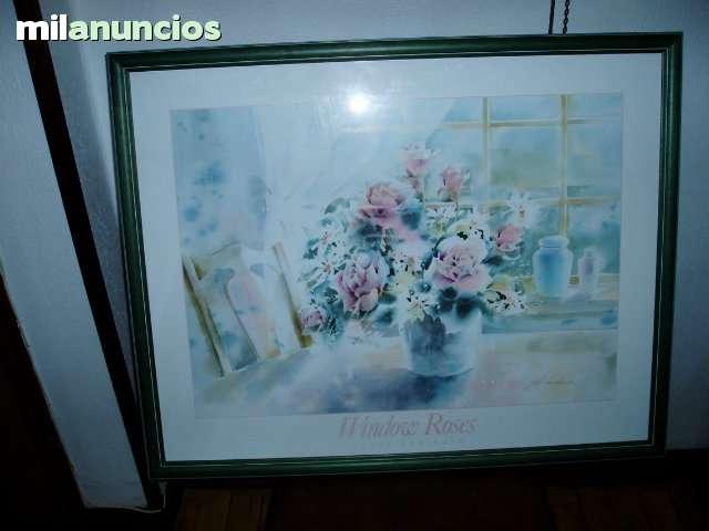 CUADRO DE FLORERO CON MARCO VERDE - foto 1