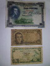 Billetes de 100 y 5 pesetas - foto