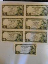 Lote de 7 billetes de 5 ptas de 1954 - foto