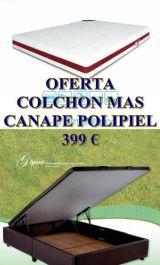OFERTA PACK CANAPÉ POLIPIEL+COLCHÓN M.  - foto