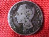 1 peseta Alfonso XII año 1876*76 plata - foto
