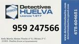 Lic 1917. DETECTIVES HUELVA. 959247566. - foto
