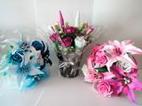 Tiestos y flores de goma eva - foto