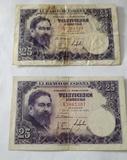 2 billetes de 25 pesetas. Año 1954 - foto