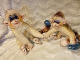 Peluches antiguos dos monos años 70 - foto