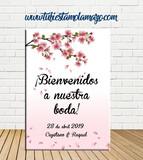 Cartel Bienvenida de Boda con flores - foto