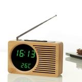 Reloj despertador radio fm de bambu - foto