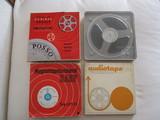 4 antiguas bobinas de cine de super 8. - foto