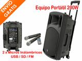 Equipo PA 200W USB SD FM + 2 Micro mano - foto
