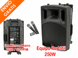 Altavoz Portátil 250W BT + 2 Micros Mano - foto