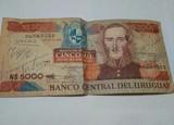 Billete 5000 pesos uruguayo 1980 - foto