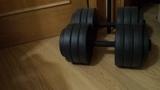 Dos mancuernas 35 kg y barra larga. - foto