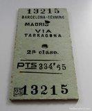 Billete tren madrid via tarragona aÑo 50 - foto