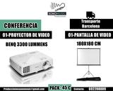 Alquiler- proyector de video y pantalla - foto