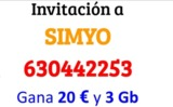 Invitación a Simyo. Gana 3 euros y 20 GB - foto