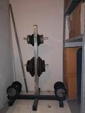 pesas, discos, soporte discos - foto