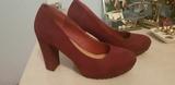 zapato tacón ancho-color vino, n 37 - foto