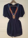Blusa azul con pedrería talla M - foto
