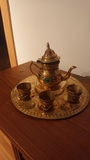 juego tetera antigua bronce miniatura - foto