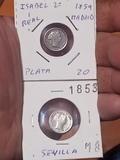 Monedas 1 real Isabel II plata - foto
