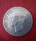 Moneda 5 pesetas Alfonso XII - foto