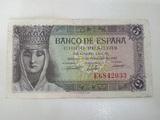 billete 5 pesetas 1943 Reina Isabel - foto
