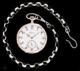 Reloj longines con su cadena en plata - foto
