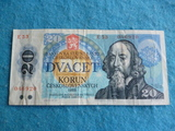 Checoslovaquia, Billete 20 Coronas 1988 - foto