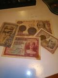 lote de monedas y billetes antiguos - foto