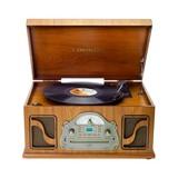 Lauson tocadiscos de madera cd radio bt - foto