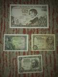 Billetes 1 peseta y 100 pesetas antiguos - foto