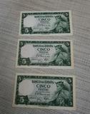 tres billetes correlativos 1954 5 peseta - foto