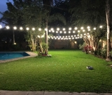Guirnalda de bombillas y letras gigantes - foto