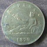 Moneda de 5 pesetas del año 1870 - foto