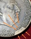 Moneda 1 peseta 1963*66 con varios rrror - foto